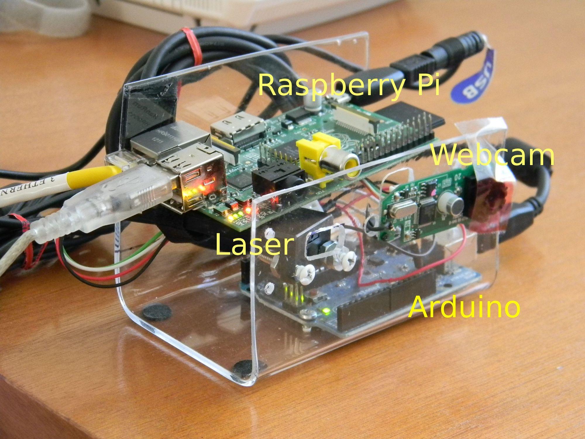 Raspberrypi arduino webcam laser range finder llabiz