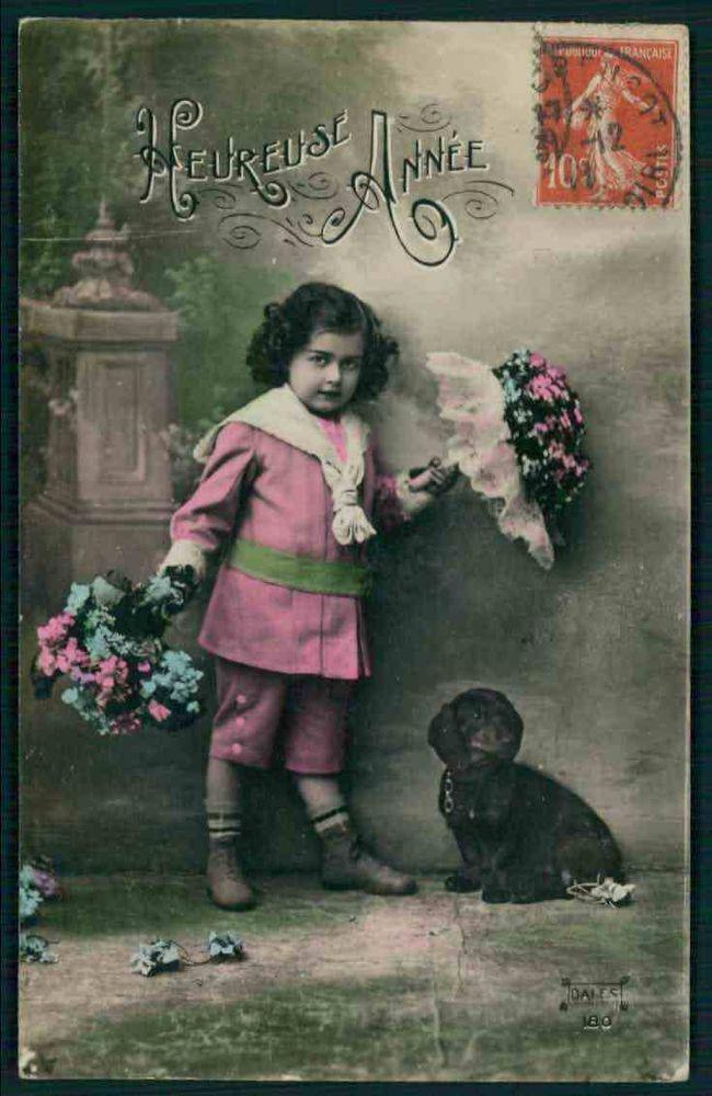 Edwardian Child Girl Dachshund Dog original vintage old 1910s photo postcard