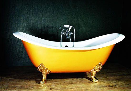 Vasca Da Bagno Intasata : Claw foot tub: bright yellow love the ornate feet finds