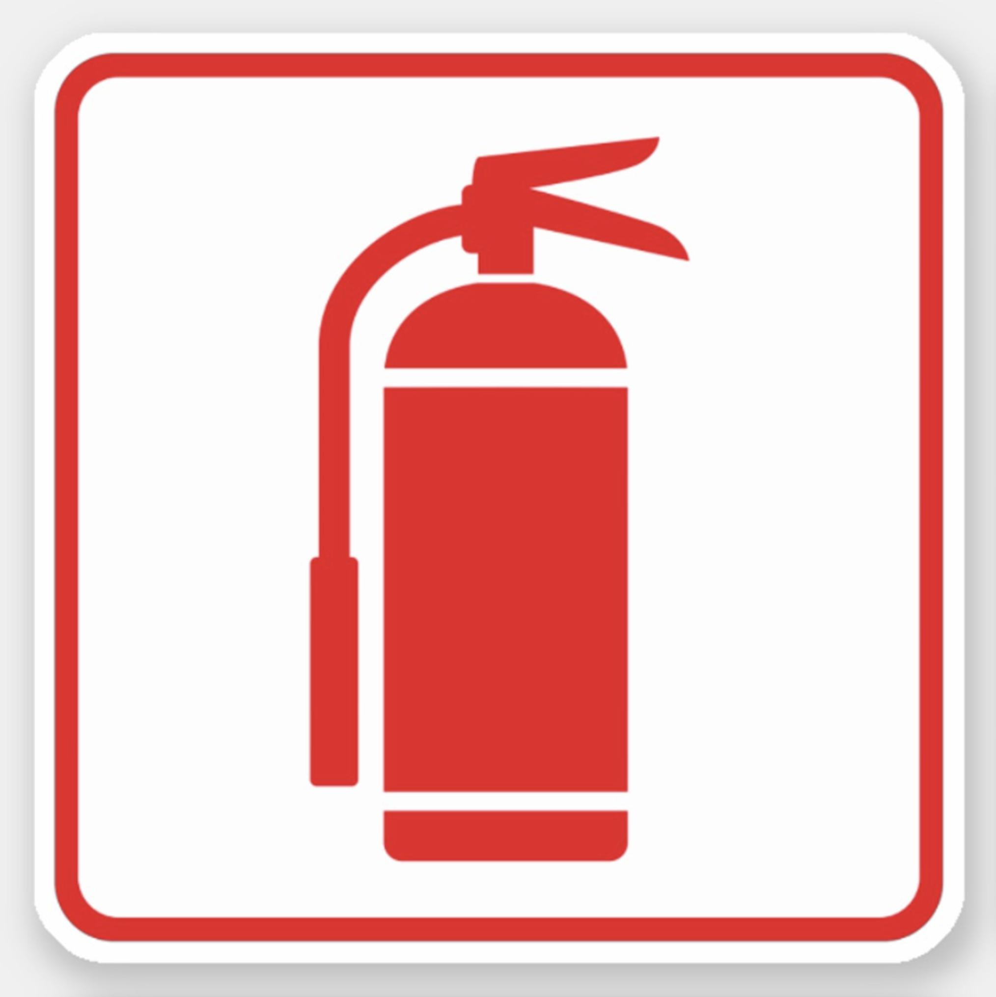 Fire extinguisher symbol, red on white, red border sticker