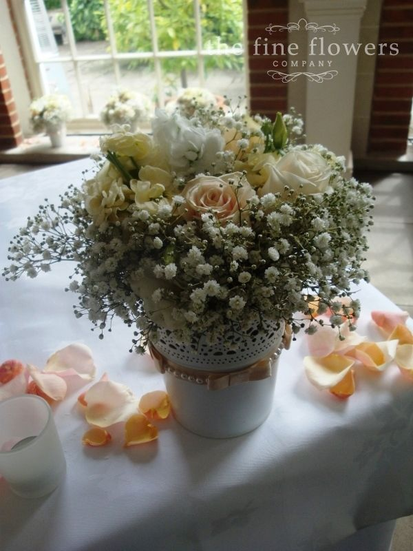 Roses And Gypsophila Wedding Flowers In Vintage Pots From Great Fosters Surrey