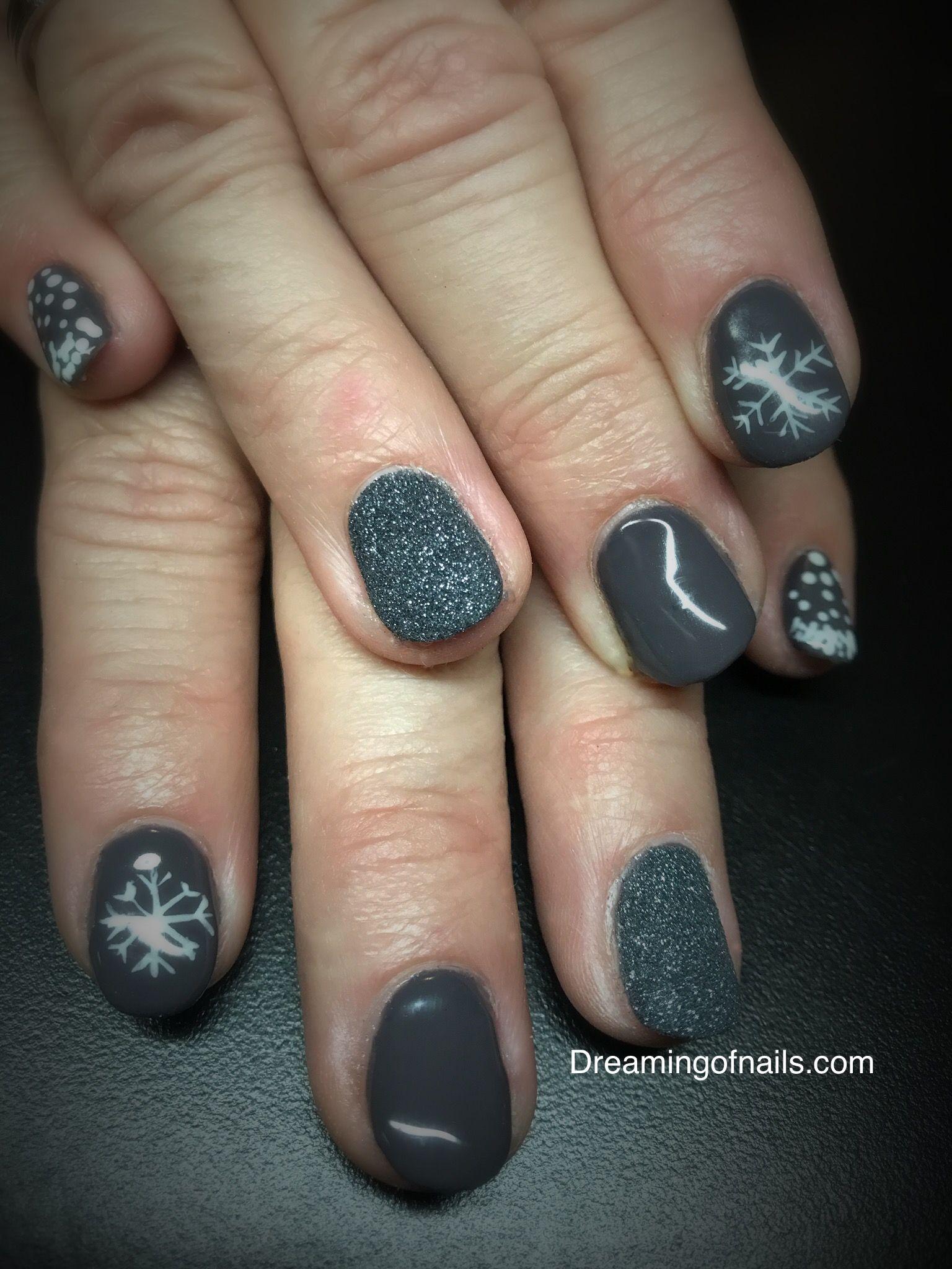 gray snowflake nails winter nails winter nail art ideas christmas nail designs - Simple Christmas Nail Designs