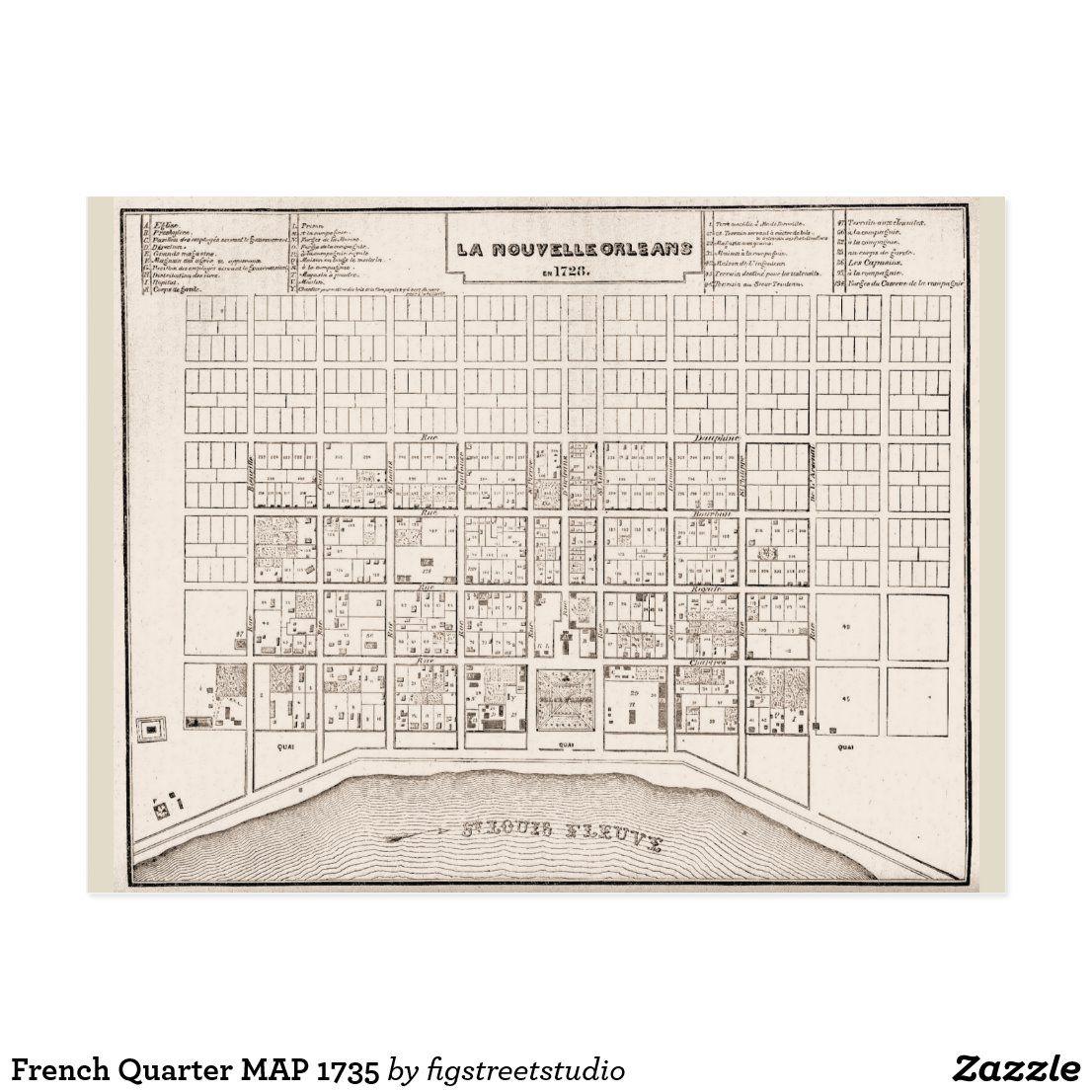French Quarter Map Postcard