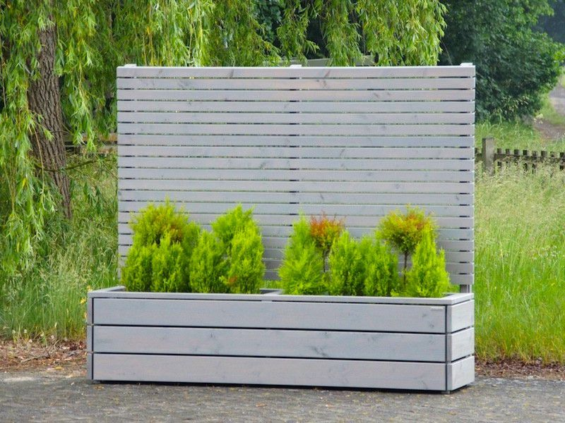 Pflanzkasten Holz Lang L Mit Sichtschutz Oberflache Transparent