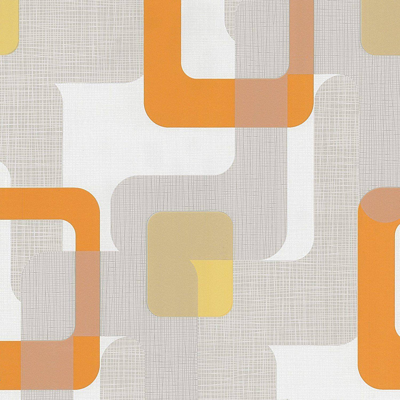 Novara Orange Grey White Retro Paste The Wall Textured Washable