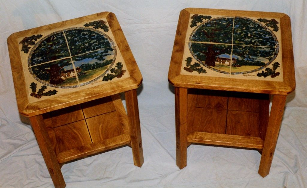 Tile Tables End Tables With Tile Inlays The Tiles Made By Kathy Gatch A Potter Tile Tables Mosaic Tiles Tiles