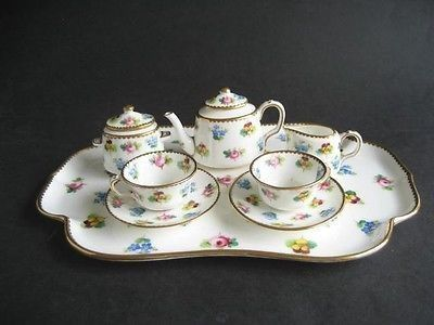 Miniature Doll House China Tea set oriental teapot teacups serving platter