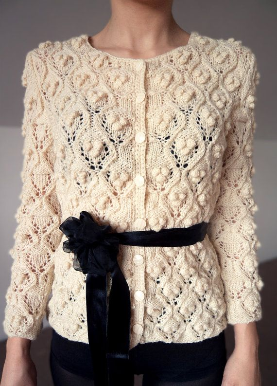 Cardigan knitted white handmade pullover wool sweater winter spring ...