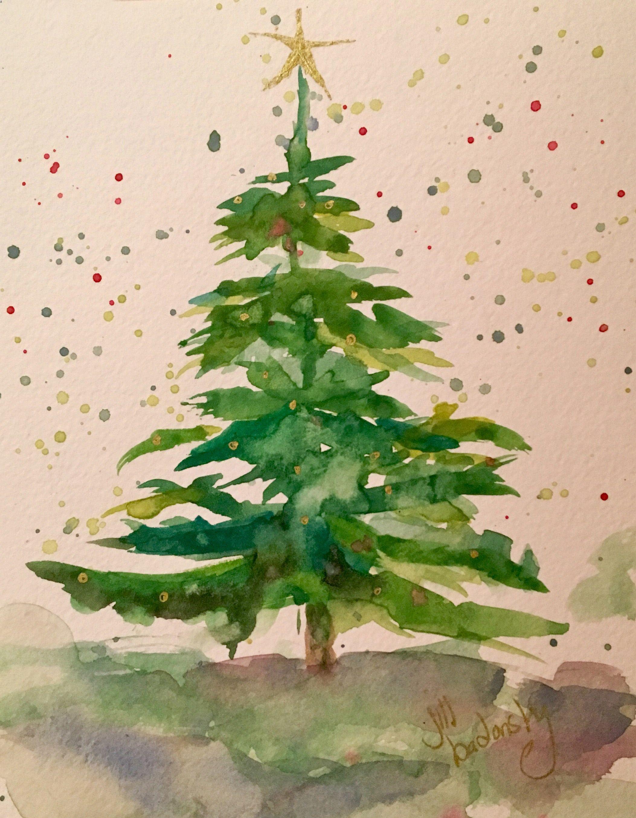 jill badonsky says merry christmas tree malen aquarell. Black Bedroom Furniture Sets. Home Design Ideas
