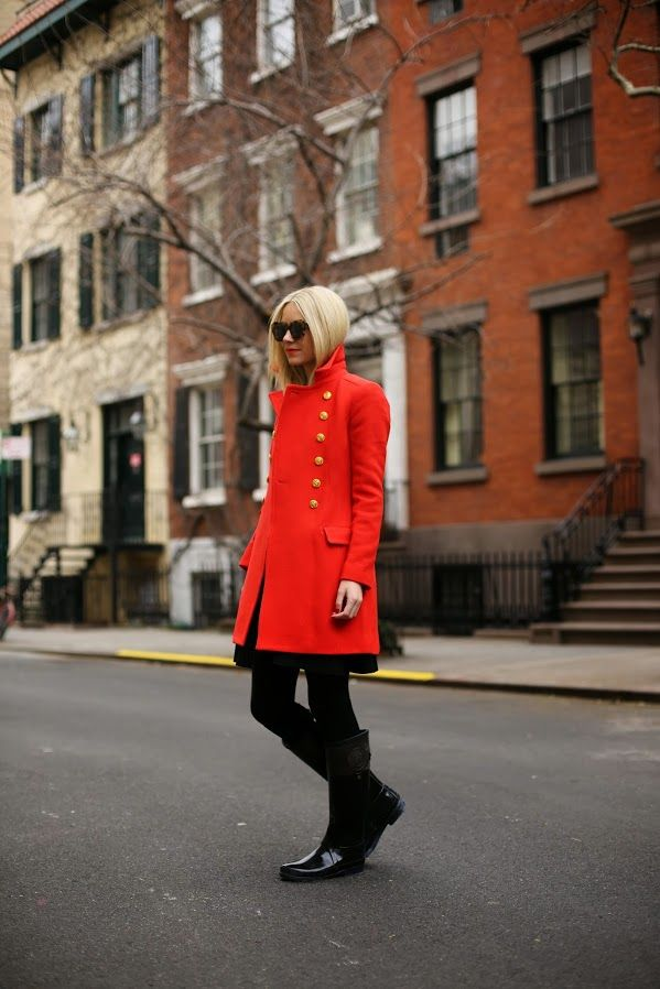 red coat dress with rain boots