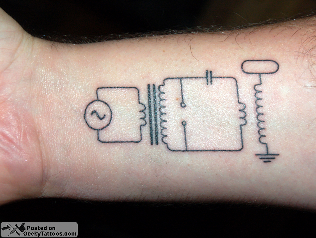 A Diagram Of Tesla Coil Totally Geeky And I Love It Electronic Circuit Tattoo Geek Tattoos Thanks Interesting Picture