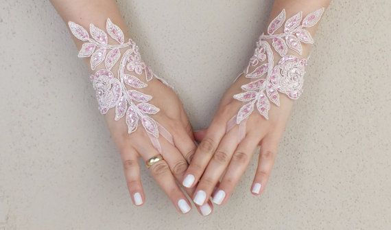 Soft pale pink Wedding gloves lace gloves free ship, Rose goth gothic, unique gloves