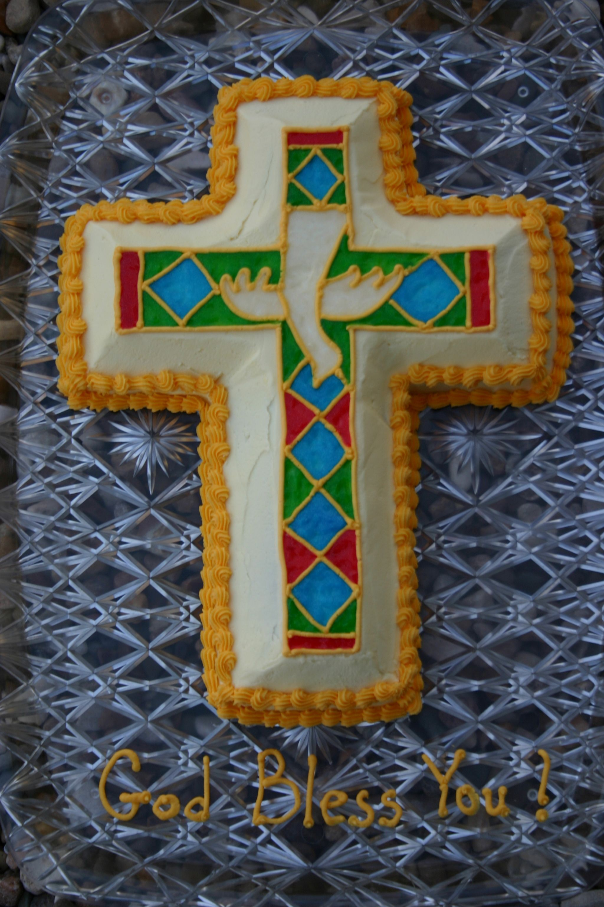 Confirmation Cross Cake With Stain Glass Dove