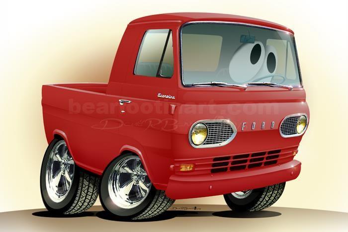 1961 67 Ford Econoline Pickup Up Automotive Cartoon Car Caricature