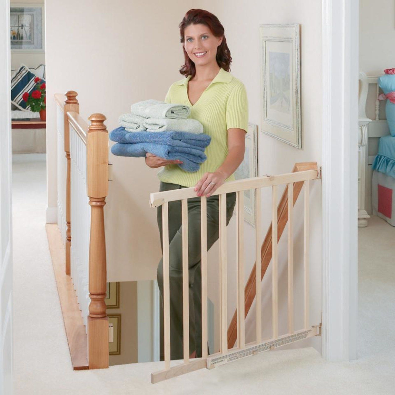 Evenflo 30 48 Inch Walk Thru Top Of Stairs Safety Gate Tan Home