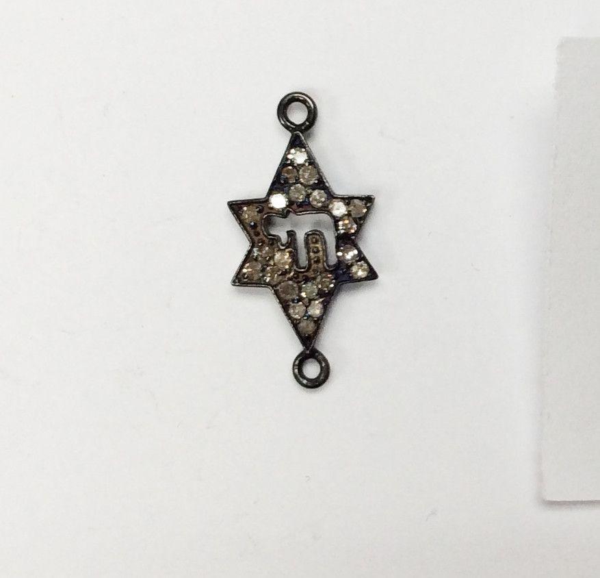 Pave Diamond Charm .925 Oxidized Sterling Silver Diamond Charms, Genuine handmade pave diamond Charm Size 11x22 MM