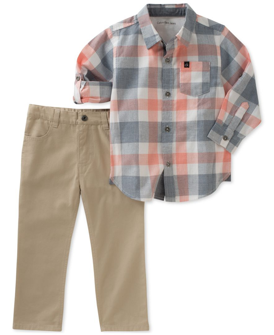 99e82354 Calvin Klein's two-piece set for toddler boys combines a long-sleeve woven  plaid shirt and pair of coordinating cotton twill pants.