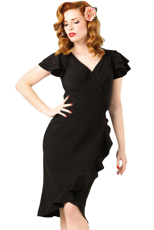 Black 50s Flutter Sleeves Wrap Ruffled Vintage Dress https   www.modeshe. e821fa2d2ac6