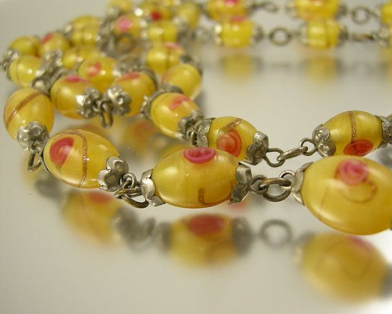 Art Deco Golden Yellow Art Glass Beaded by worn2perfection on Etsy, $55.00