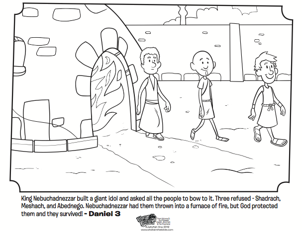 Kids Coloring Page From Whats In The Bible Featuring Shadrach Meshach And Abednego