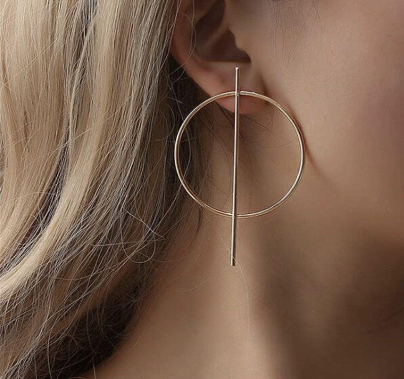 caa2b861586e39 Minimal Big Drop Earrings for Women Gold Silver Circle Round ...
