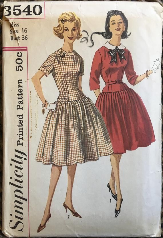 b83890414c 1960s Secretary Dress w Full Skirt   Dropped Waist Sewing Pattern    Detachable Peter Pan Collar   Si