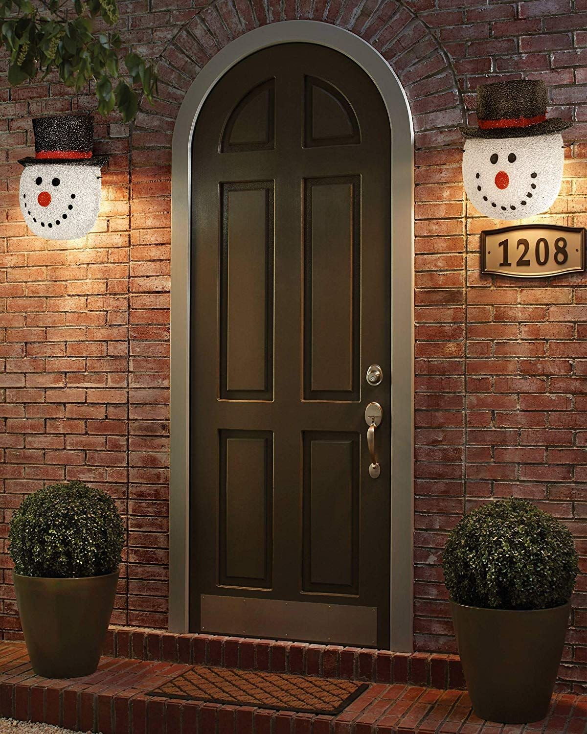Snowman Porch Light Cover Holiday And Christmas Decorations Flexible Weather Resistant Acrylic Outdoor Wall Lantern Outdoor Sconces Outdoor Lighting Design