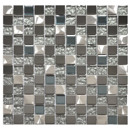 Eden Mosaic Tile Silver Black And Royal Blue Mixed Gl Metal