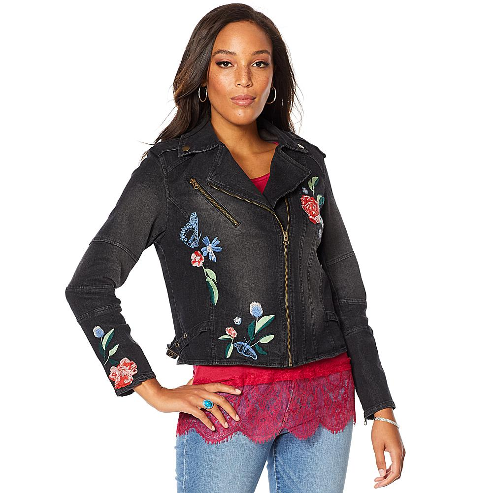 """""""As Is"""" Colleen Lopez Embroidered Denim Moto Jacket"""