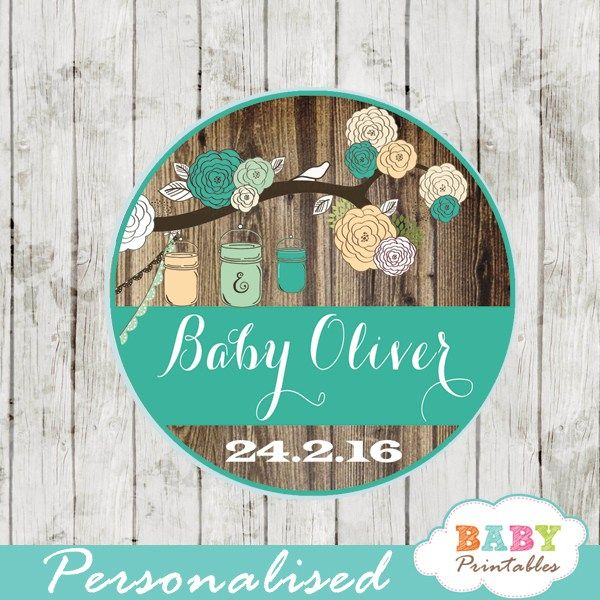 Rustic Country Mason Jar Baby Shower Personalized Tags, Blue & Peach. #babyprintables