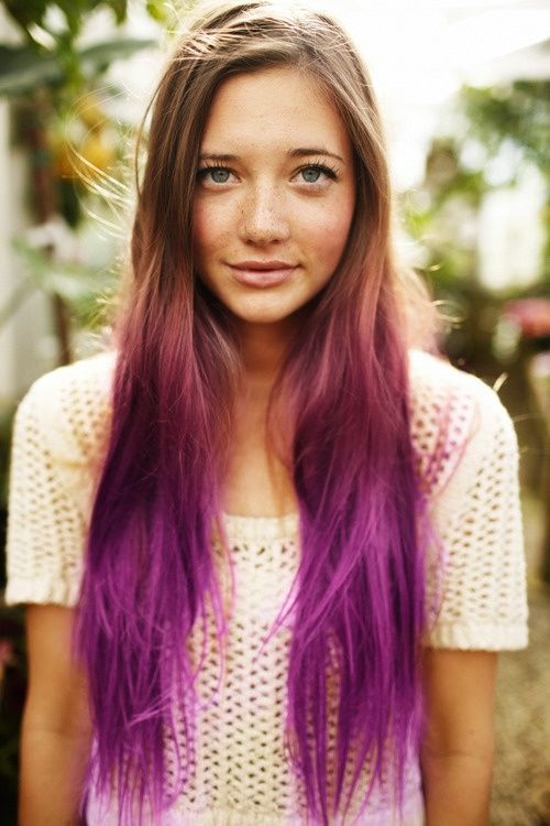Blonde To Purple Ombre Hair For Long Hair Subtle Hair Color