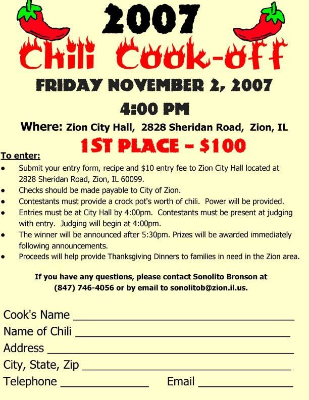 chili cook off entry form template - Yahoo Image Search Results - contest form template