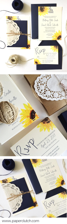 Watercolor Sunflower Wedding Invitation Set - #rustic #afflink ... - Einladungskarte Sonnenblume