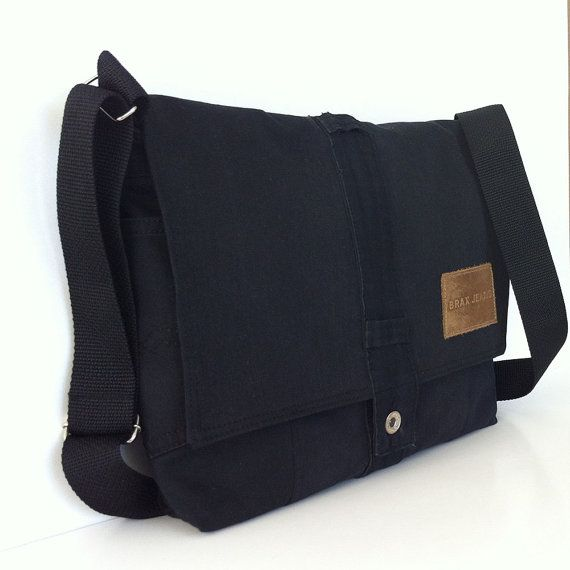 Black messenger bag Recycled denim school bag for by Sisoibags ... 7373521441de3