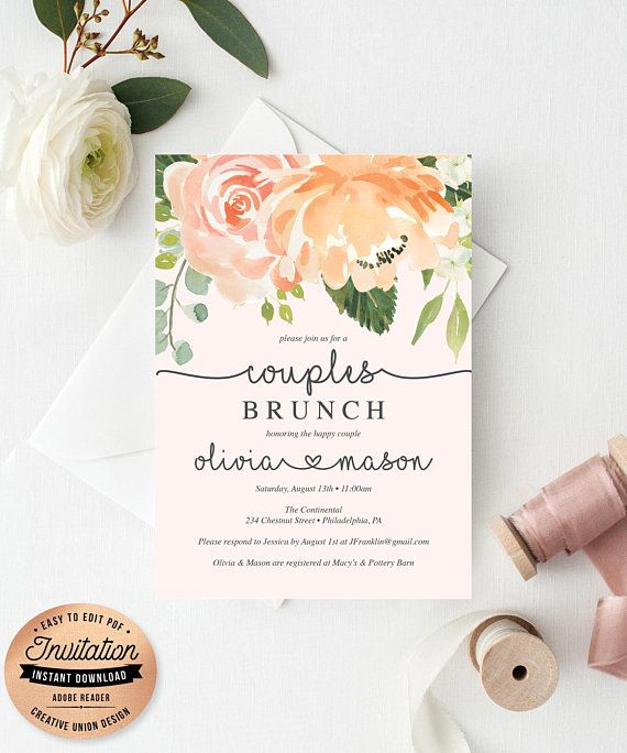 Bridal Shower Invitation S Pretty Peach Editable Printable Invite Brunch Invites Ideas Pea