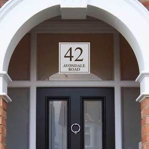 Home Decor Plaques & Signs Glass Fanlight Door Number Frosted Glass House Number Victorian Etched Glass