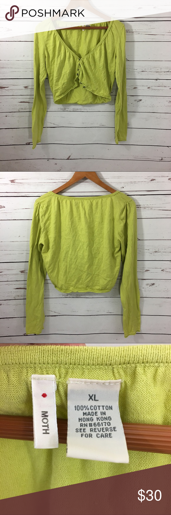 Anthropologie Moth Cropped Cardigan Anthropologie Moth lime green ...