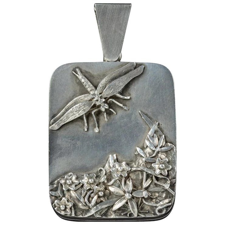 Antique Art Nouveau Silver Dragonfly Locket Circa 1900