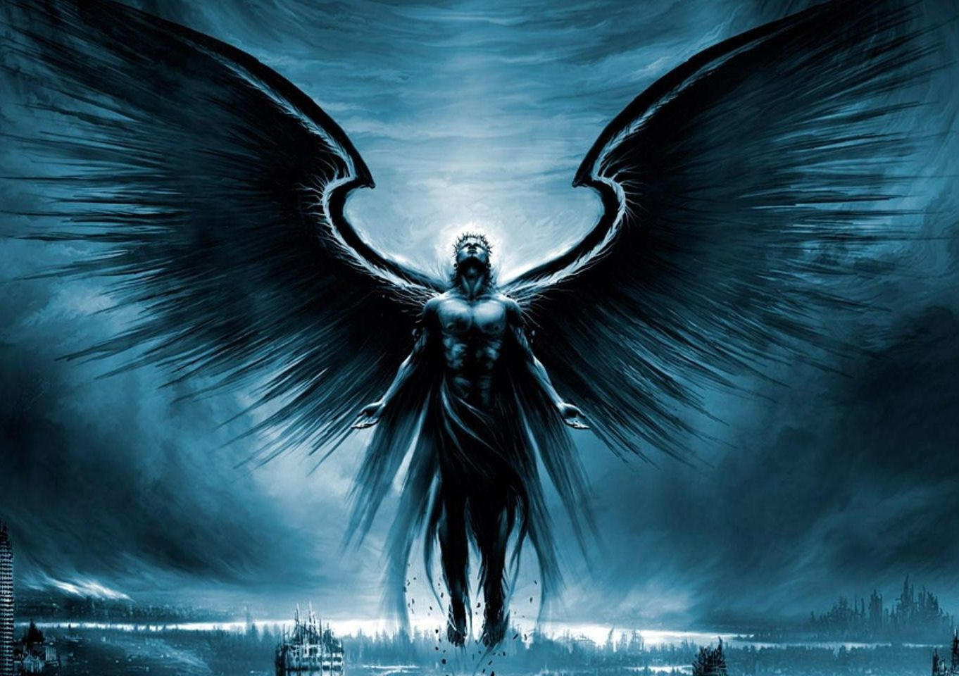 Framed Print Gothic Dark Angel Rising up into the Sky