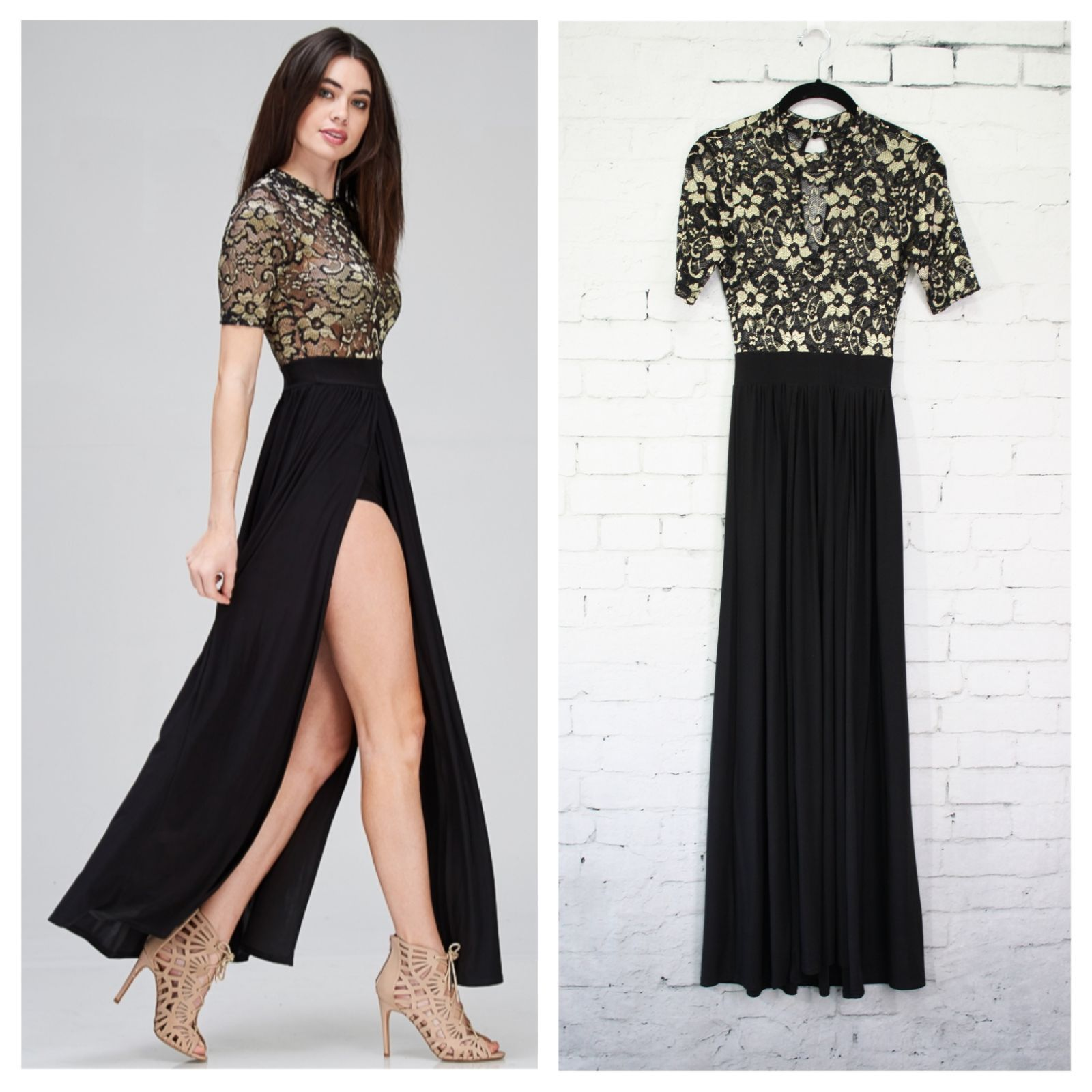 Dress has two long slits in front and attached shorts underneath