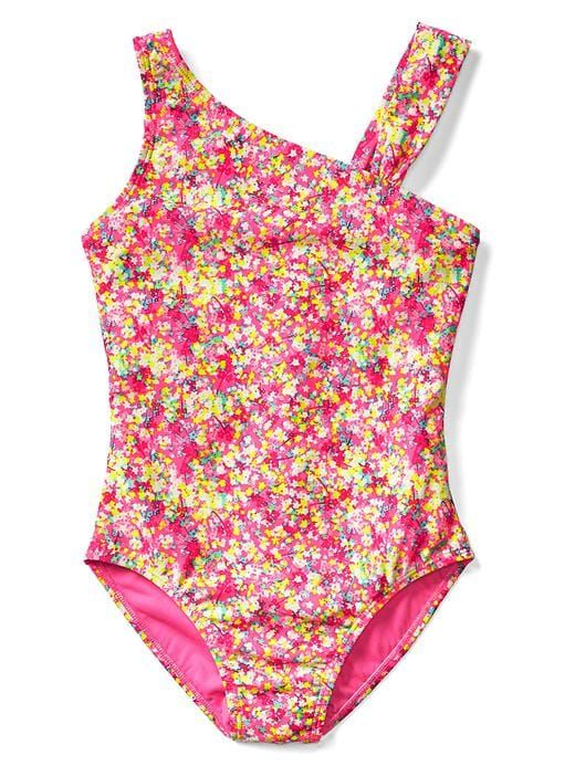 6aff631517a42 Gap Girls Floral Asymmetrical Swim One-Piece Pink Pop Neon ...