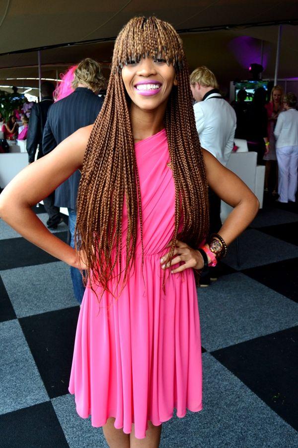 Poppy Ntshongwana, fringe box braids | Hair styles