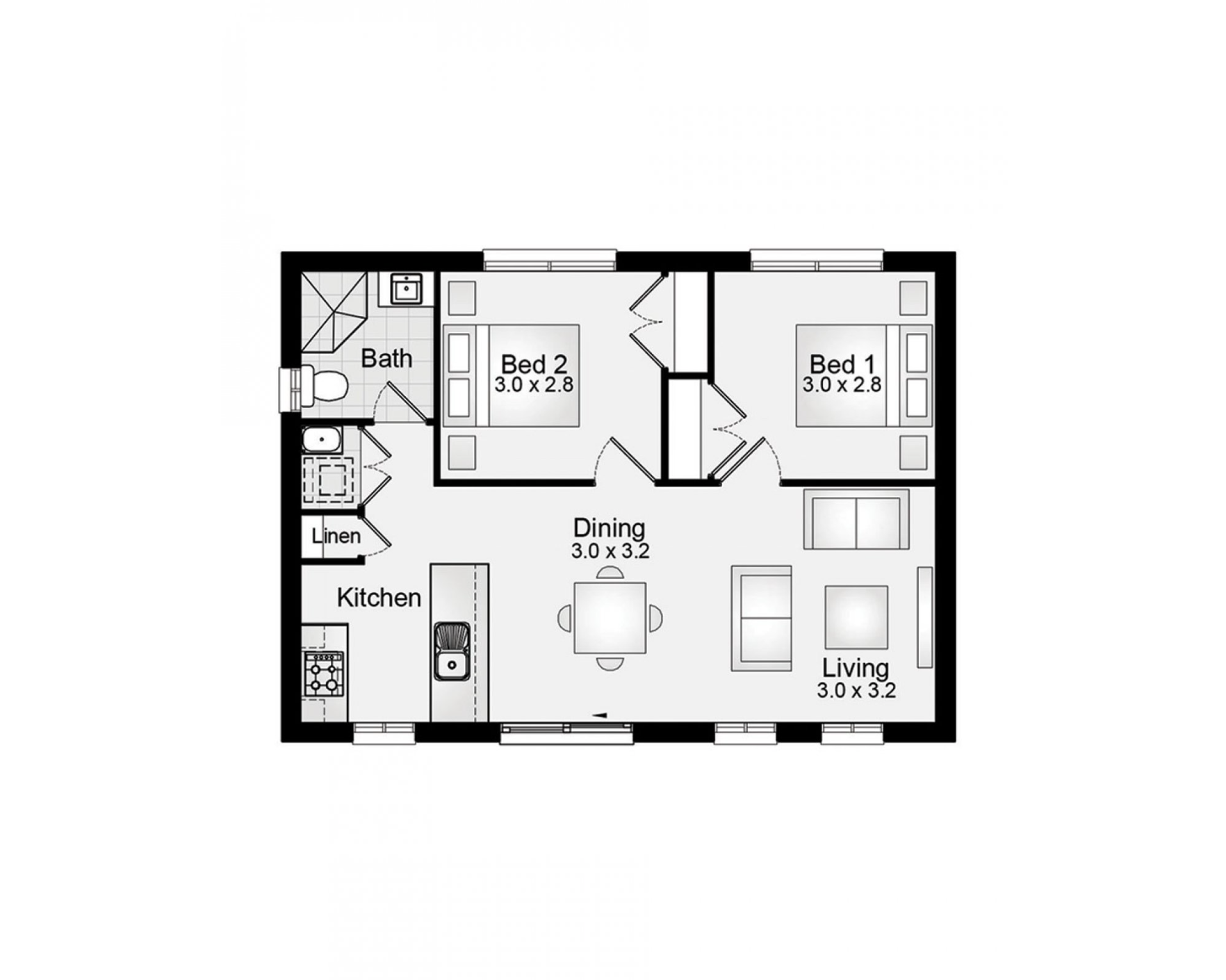 Granny Flat 60m2 2 Bedroom Clarendon Homes Floor Plans Floor Plans House Floor Plans How To Plan
