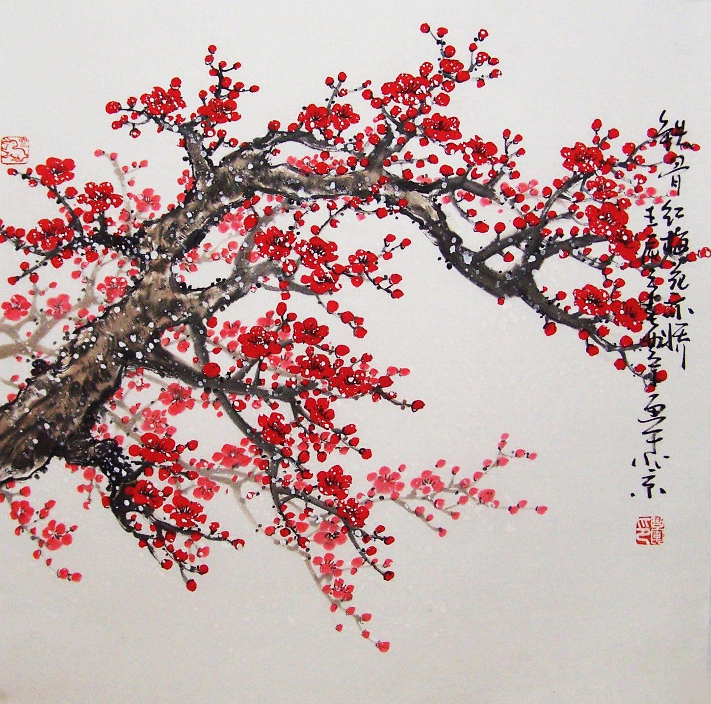 Original Painting Chinese Art Lovely Cherry Blossom Tree No 15 Cherry Blossom Art Blossoms Art Chinese Art