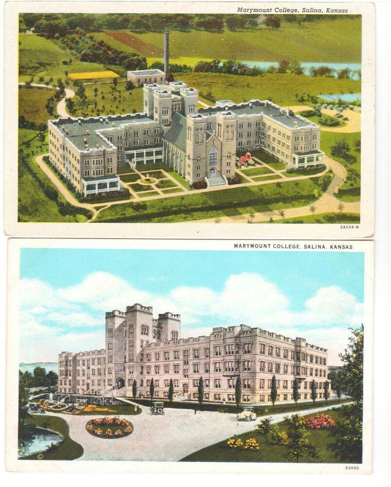 Salina Ks Marymount College Vintage Postcard Lot 2 Views Exterior Old Closed Postcard Vintage Postcard Vintage Ads