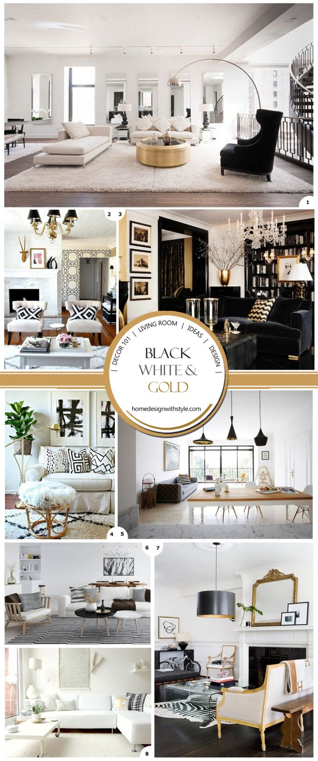 Black, white and gold decor is like a classic LBD for the living ...