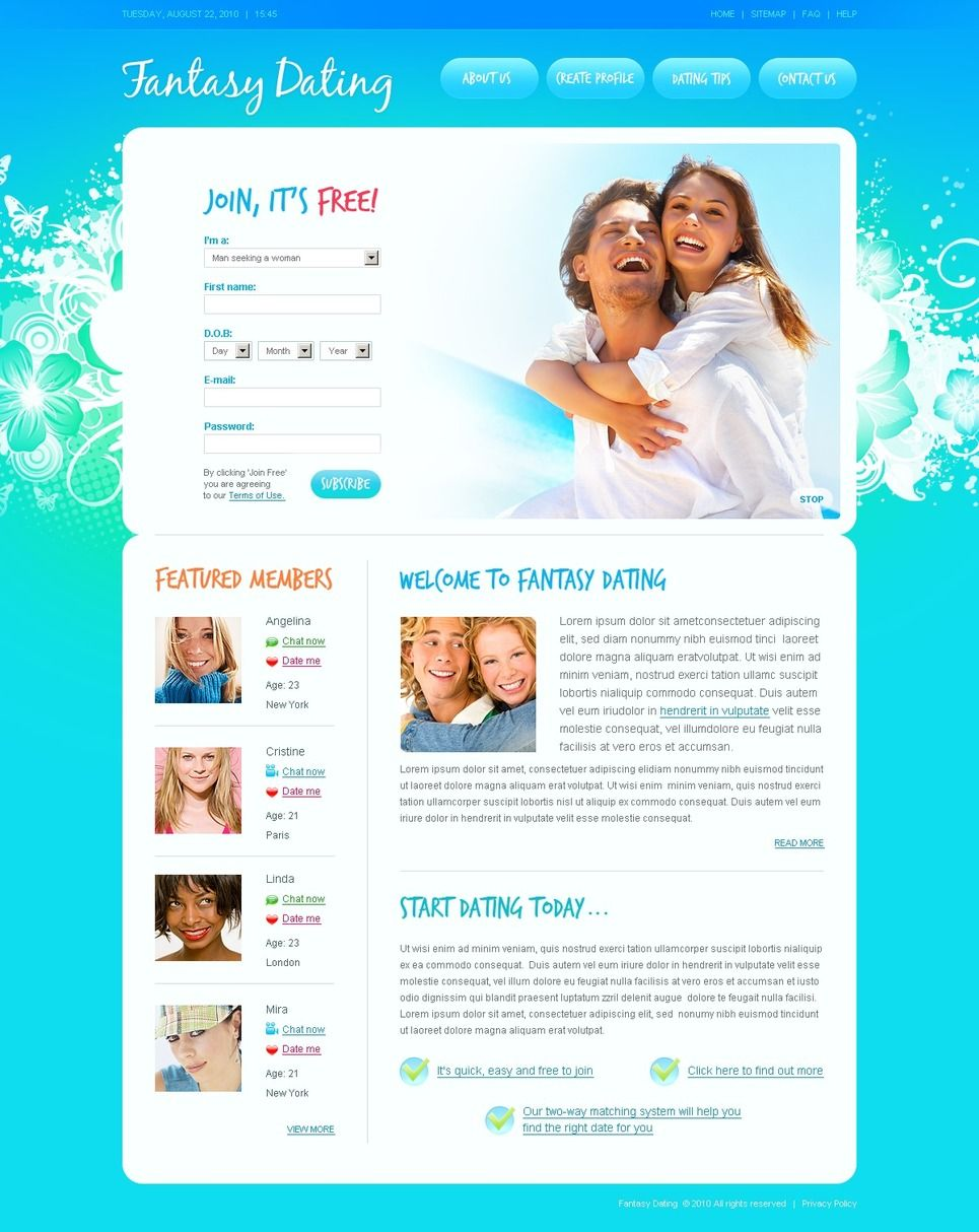 dating site profile template psd