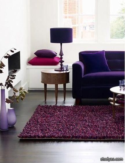 Purple living room solo el mueble  la lampara also google colorful interiors