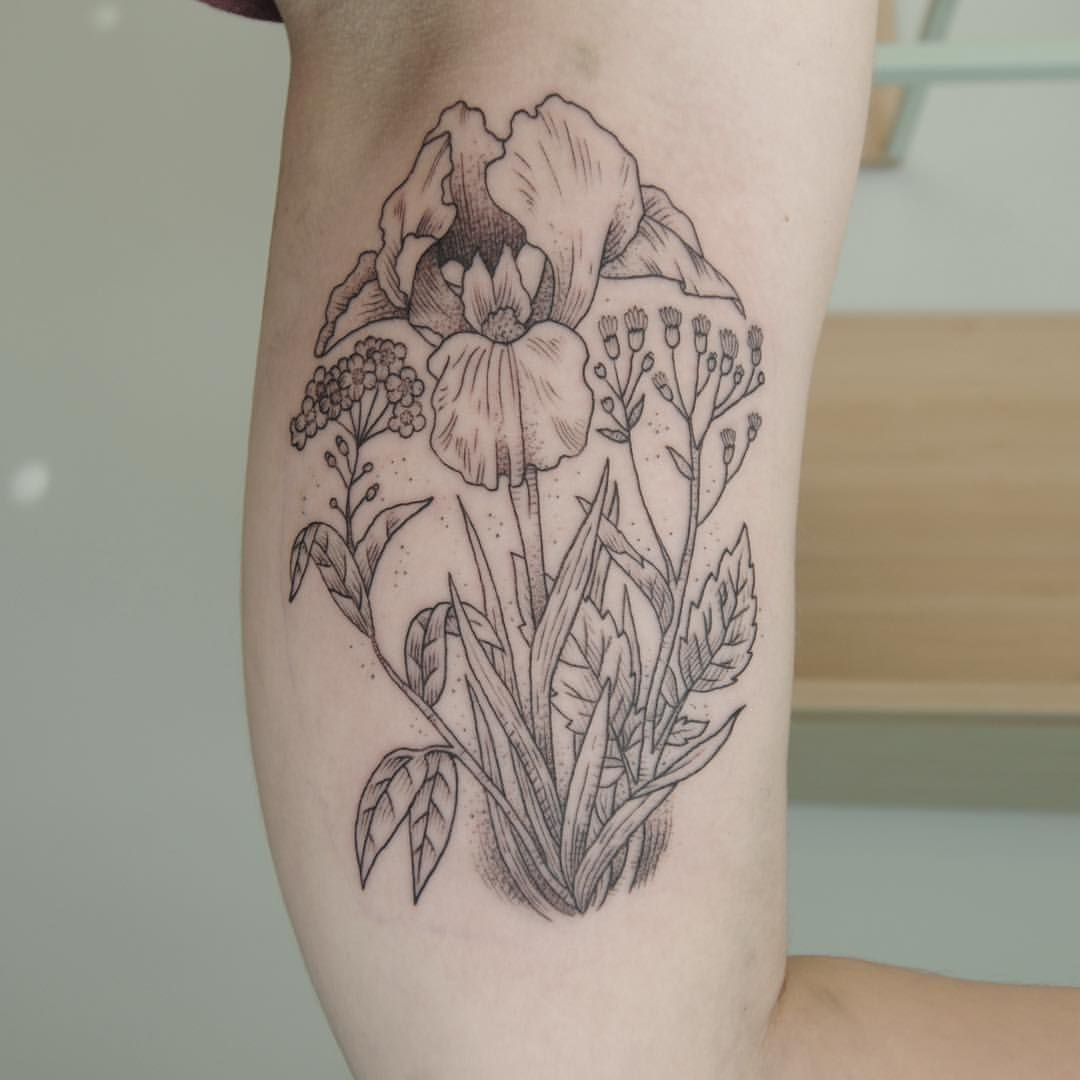 "alexcfourpo: ""Forgetmenot, iris and nipplewort for Masha @theinksociety #tattoo…"
