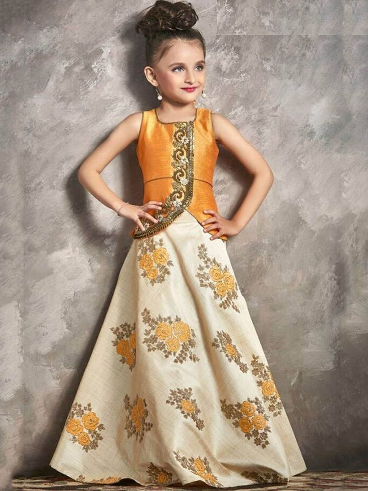 Breathtaking orange silk party wear kids gown designers
